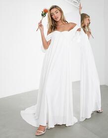 Свадебное платье со сборками и драпировкой на рукавах Jasmine-Белый ASOS Edition 10888271