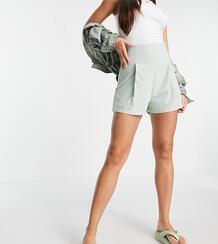 Шалфейно-зеленые фактурные шорты со складками спереди ASOS DESIGN Tall-Белый Asos Tall 11222789