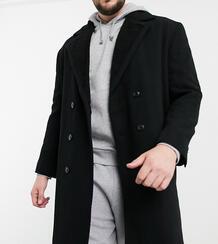 Черное пальто из смесовой шерсти с подкладкой из искусственного меха Plus-Черный ASOS DESIGN 10205092