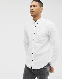 Белая приталенная оксфордская рубашка с логотипом -Белый Hollister 7950193