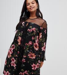 Платье с цветочным принтом и полупрозрачными вставками -Мульти LOVEDROBE 7734680