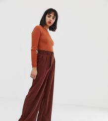 Широкие брюки с завышенной талией и поясом -Коричневый Vero Moda 7941953