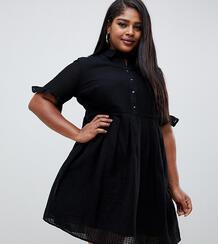 Платье-рубашка мини с оборками на рукавах ASOS DESIGN Curve-Черный Asos Curve 7887857