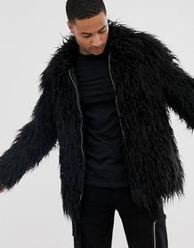 Черная фестивальная куртка из искусственного меха в монгольском стиле -Черный ASOS DESIGN 8154698