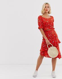 Юбка миди с цветочным принтом и оборками -Красный Pieces 8457341