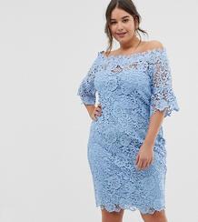 Платье кроше с открытыми плечами и рукавами клеш -Синий Paper Dolls Plus 8233871