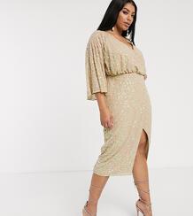 Платье миди с широкими рукавами и пайетками ASOS DESIGN Curve-Neutral Asos Curve 9186901