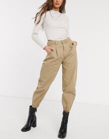Бежевые свободные джинсы с кромкой манжетом -Коричневый Bershka 9657169