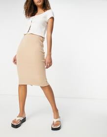Бежевая вязаная юбка миди -Коричневый цвет VILA 11986576