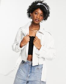 Белая кожаная короткая куртка -Белый ASOS DESIGN 11032348