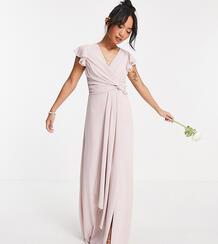 Серовато-бежевое платье макси подружки невесты с рукавами клеш и оборками -Розовый цвет TFNC Petite 11003724