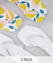 Набор из 2 пар шлепанцев для широкой стопы с квадратным носком белого цвета и с принтом -Многоцветный Truffle Collection 11088629