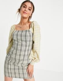 Платье мини с открытыми плечами и принтом в разную клетку -Многоцветный LOLA MAY 11499571