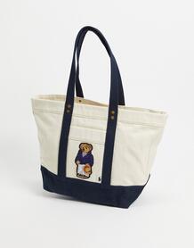 Белая сумка-тоут с логотипом в виде медвежонка -Белый Polo Ralph Lauren 11130243