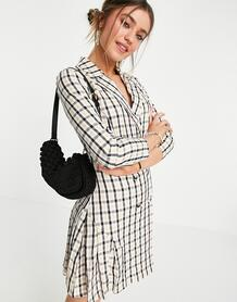 Двубортное платье-пиджак мини в клетку -Многоцветный LOLA MAY 11499570