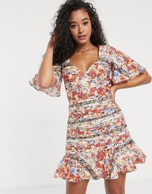 Платье мини с расклешенными рукавами и цветочным принтом -Мульти Talulah 9177619