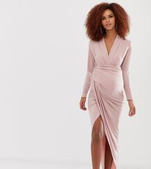 Розовое платье макси с запахом Maternity-Розовый Queen Bee 8386433