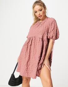 Розовое фактурное платье мини с вырезом и завязками на спине -Розовый ASOS DESIGN 11394341