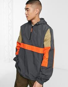 Серая куртка без застежки в стиле колор блок -Серый ASOS DESIGN 9292841