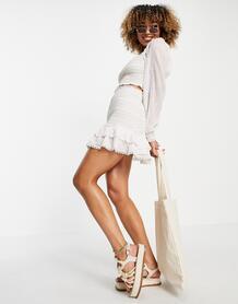 Белая пляжная мини-юбка с вышивкой от комплекта -Белый River Island 11780506