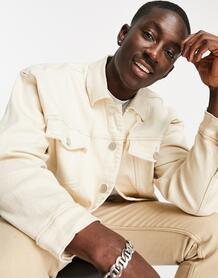 Свободная кремовая куртка из денима -Белый Mennace 11839966