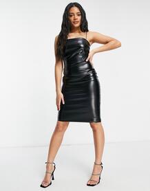 Черное облегающее платье из искусственной кожи на тонких бретельках -Черный Femme Luxe 11103479