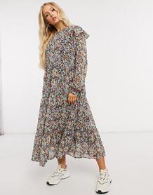 Платье миди с оборками и комбинированным цветочным принтом -Черный цвет Pieces 10682509