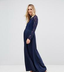 Платье макси для беременных с кружевным топом -Темно-синий Queen Bee 6477628