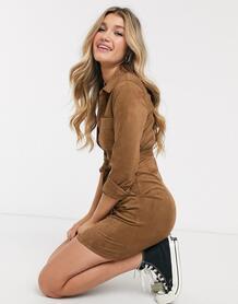 Замшевое платье-рубашка на пуговицах -Коричневый Abercrombie & Fitch 9440999
