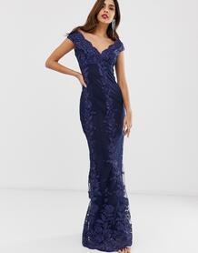 Кружевное платье макси со спущенными плечами и цветочным принтом -Темно-синий City Goddess 8331926