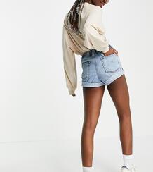 Аутентичные шорты из светлой выбеленной джинсовой ткани в винтажном стиле с завышенной талией ASOS DESIGN Tall-Голубой Asos Tall 11156677