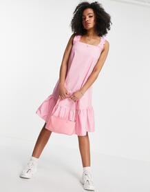 Розовое платье миди из хлопкового поплина без рукавов -Розовый цвет QED London 11584038