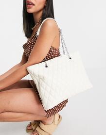 Белая стеганая сумка-тоут с ремешком-цепочкой -Белый ASOS DESIGN 11395604