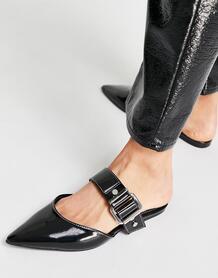 Черные мюли-сабо с острым носком и пряжками Loft-Черный ASOS DESIGN 11293338