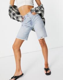 Светло-голубые джинсовые шорты до колена с необработанным нижним краем штанин -Голубой TOMMY JEANS 11315580