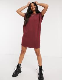 Супермягкое платье-футболка темно-бордового цвета -Красный ASOS DESIGN 10274079