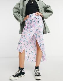 Атласная юбка миди косого кроя мятного цвета с цветочным принтом -Зеленый River Island 10142160