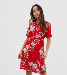 Платье с цветочным принтом Angelia-Красный Y.A.S Petite 8086289