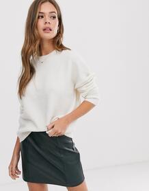 Кремовый удлиненный джемпер с круглым вырезом -Белый New Look 9100818