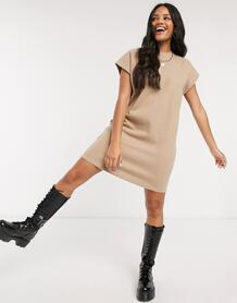 Бежевое супермягкое платье-футболка -Бежевый ASOS DESIGN 10274067