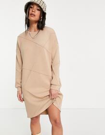 Бежевое платье-свитшот со вставками -Серый VILA 11986440