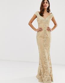 Кружевное платье макси со спущенными плечами и цветочным принтом -Белый City Goddess 8331922