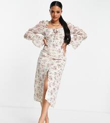 Платье макси кремового цвета с цветочным принтом и завязками на плечах -Белый MISSGUIDED 11680058