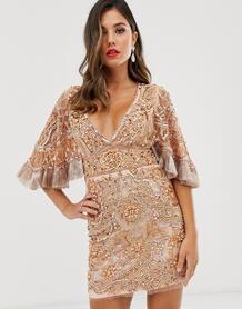 Платье мини с отделкой и широкими рукавами -Коричневый A Star Is Born 8837431