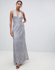 Серебристое платье макси с открытой спиной и пайетками -Серебряный Tfnc 7705850