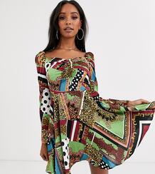 Короткое приталенное платье с квадратным вырезом и принтом -Многоцветный Outrageous Fortune 9135787