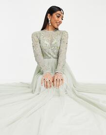 Синее платье макси с декоративной отделкой на лифе Anarkali-Голубой ASOS DESIGN 10659100