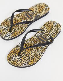 Тонкие шлепанцы с леопардовым принтом -Черный Havaianas 11856161