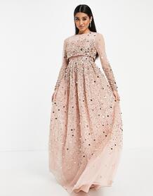 Нежно-розовое платье макси с кроп-топом и пайетками Anarkali-Розовый цвет ASOS DESIGN 10659149