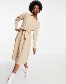 Бежевое платье миди из льна с поясом Femme-Нейтральный SELECTED 11838398